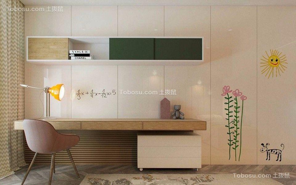 书房白色书桌现代简约风格效果图