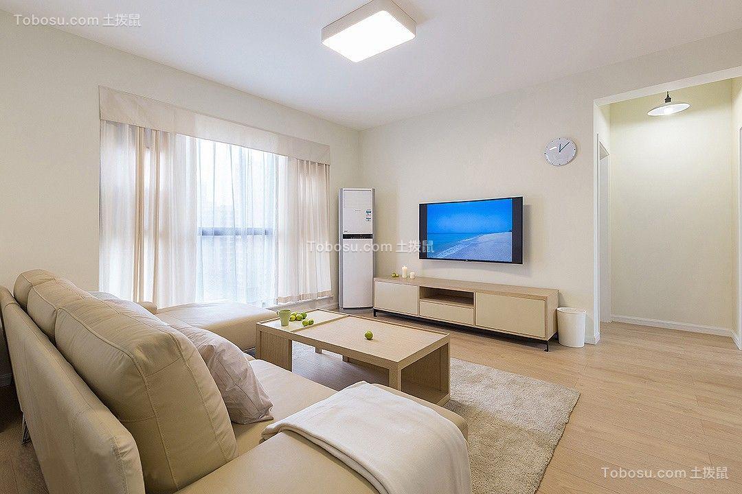 客厅白色电视柜简约风格装修设计图片