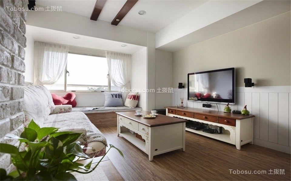 梅花山庄83平田园风格两室两厅一卫装修效果图