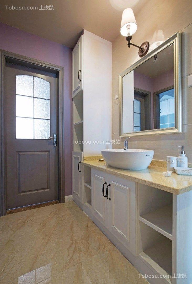 卫生间米色洗漱台美式风格效果图