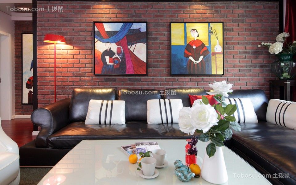 客厅黑色沙发新古典风格装饰效果图