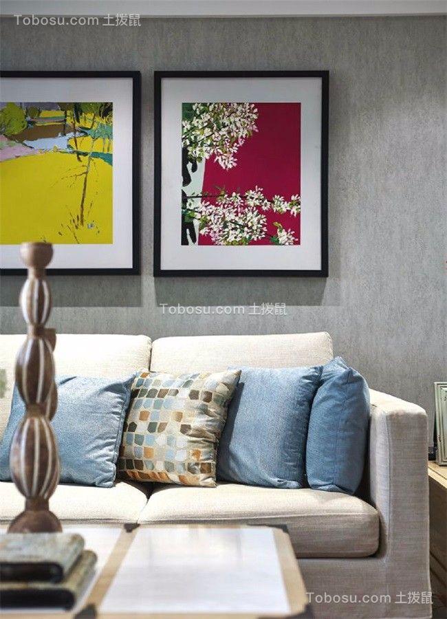 客厅灰色沙发美式风格装潢图片