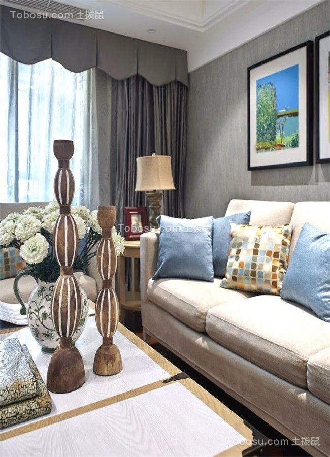 客厅灰色窗帘美式风格装修设计图片