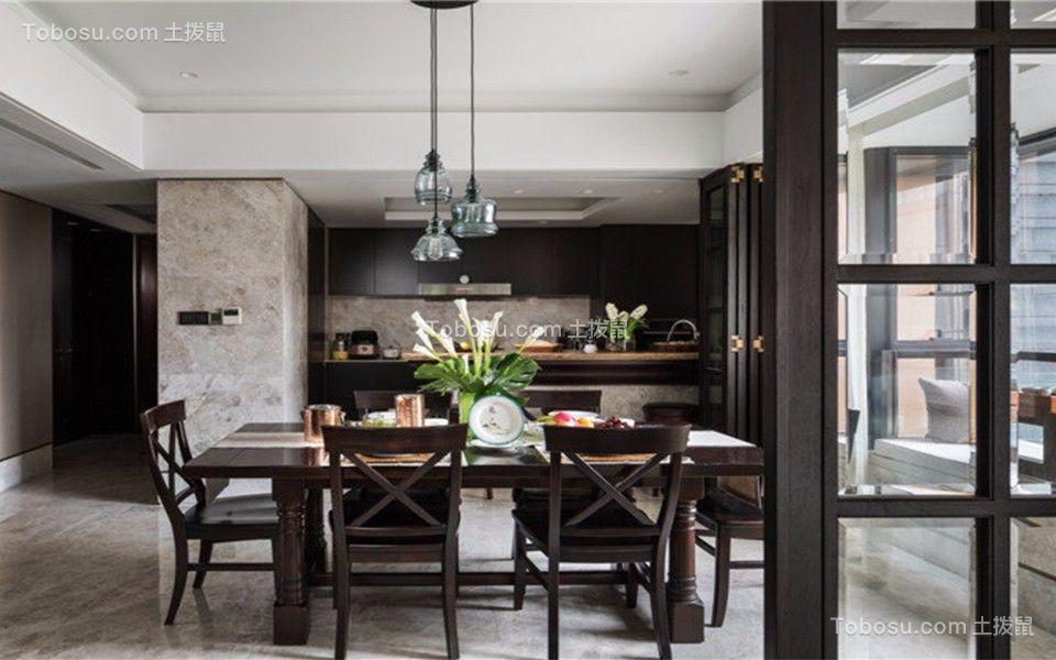 联泰天悦120平三室二厅美式风格装修效果图