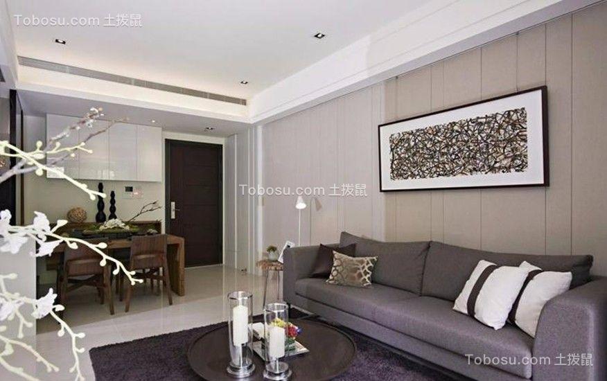 紫金一品现代风格106平二居室装修效果图