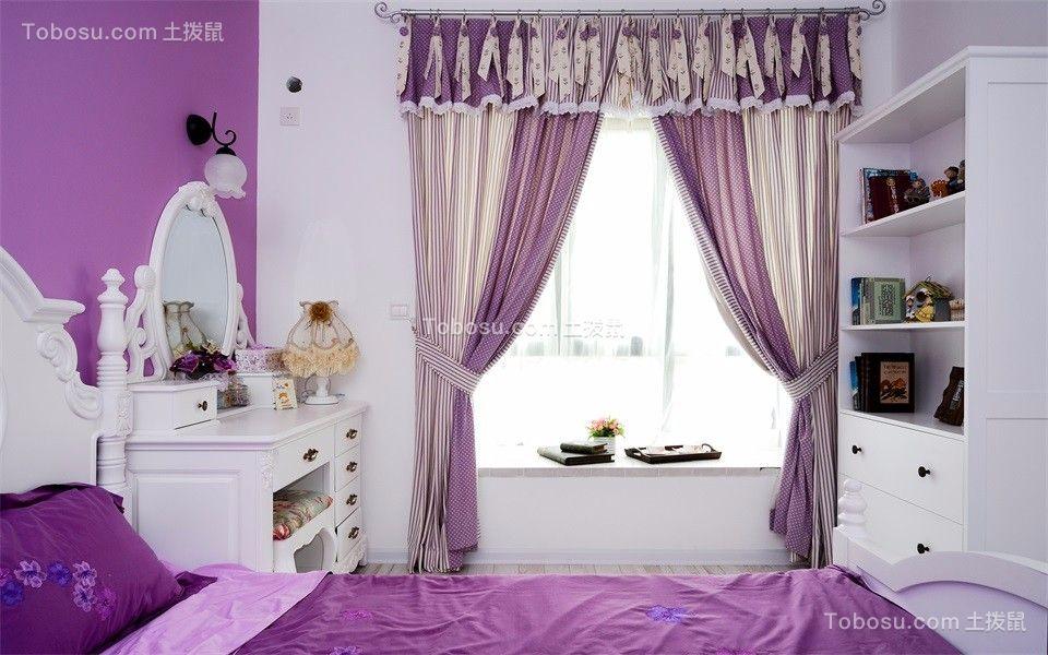 卧室紫色地砖地中海风格装潢图片