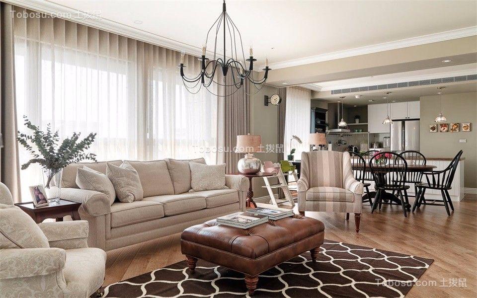 97平美式风格三居室装修效果图