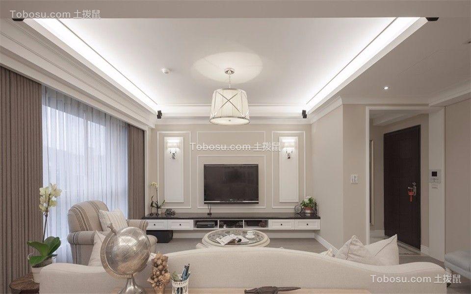 客厅米色电视柜现代风格装潢效果图