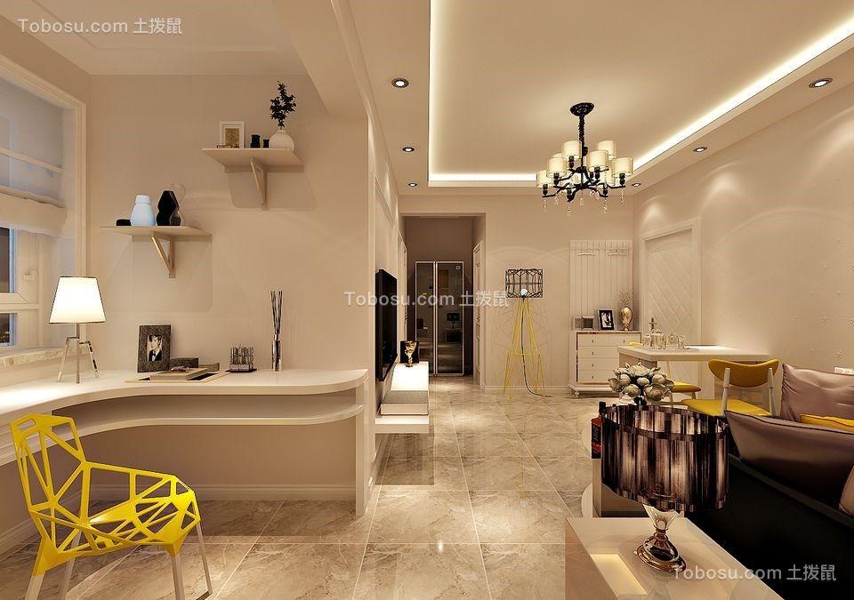 客厅白色书桌简约风格装饰设计图片