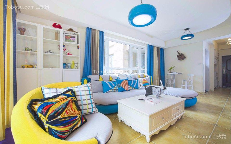 地中海风格85平米两室两厅新房装修效果图