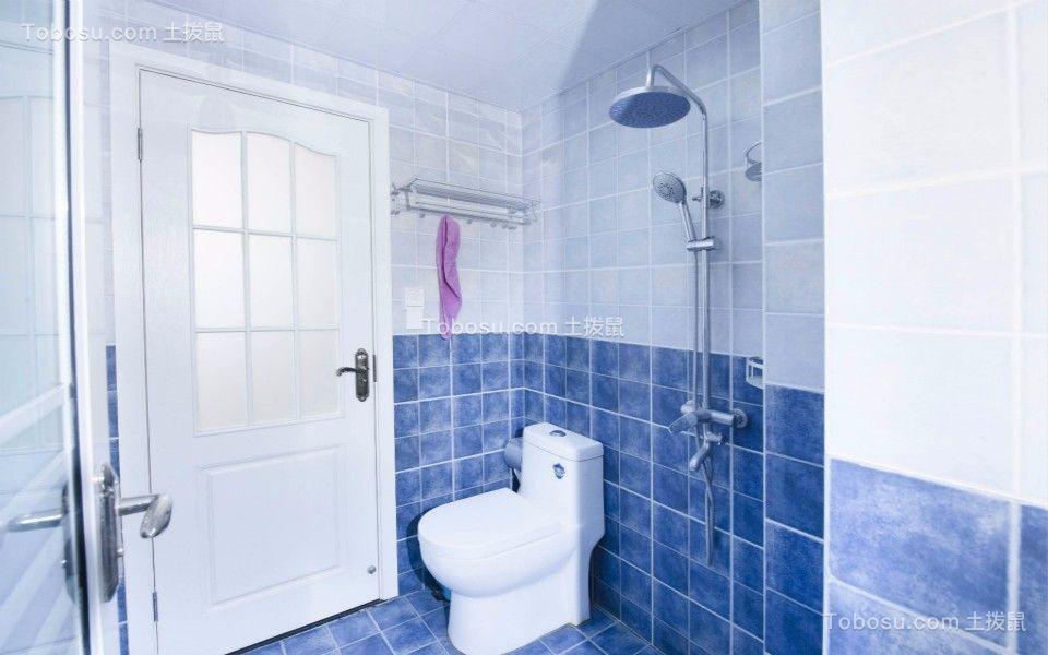 卫生间蓝色地砖地中海风格装饰设计图片