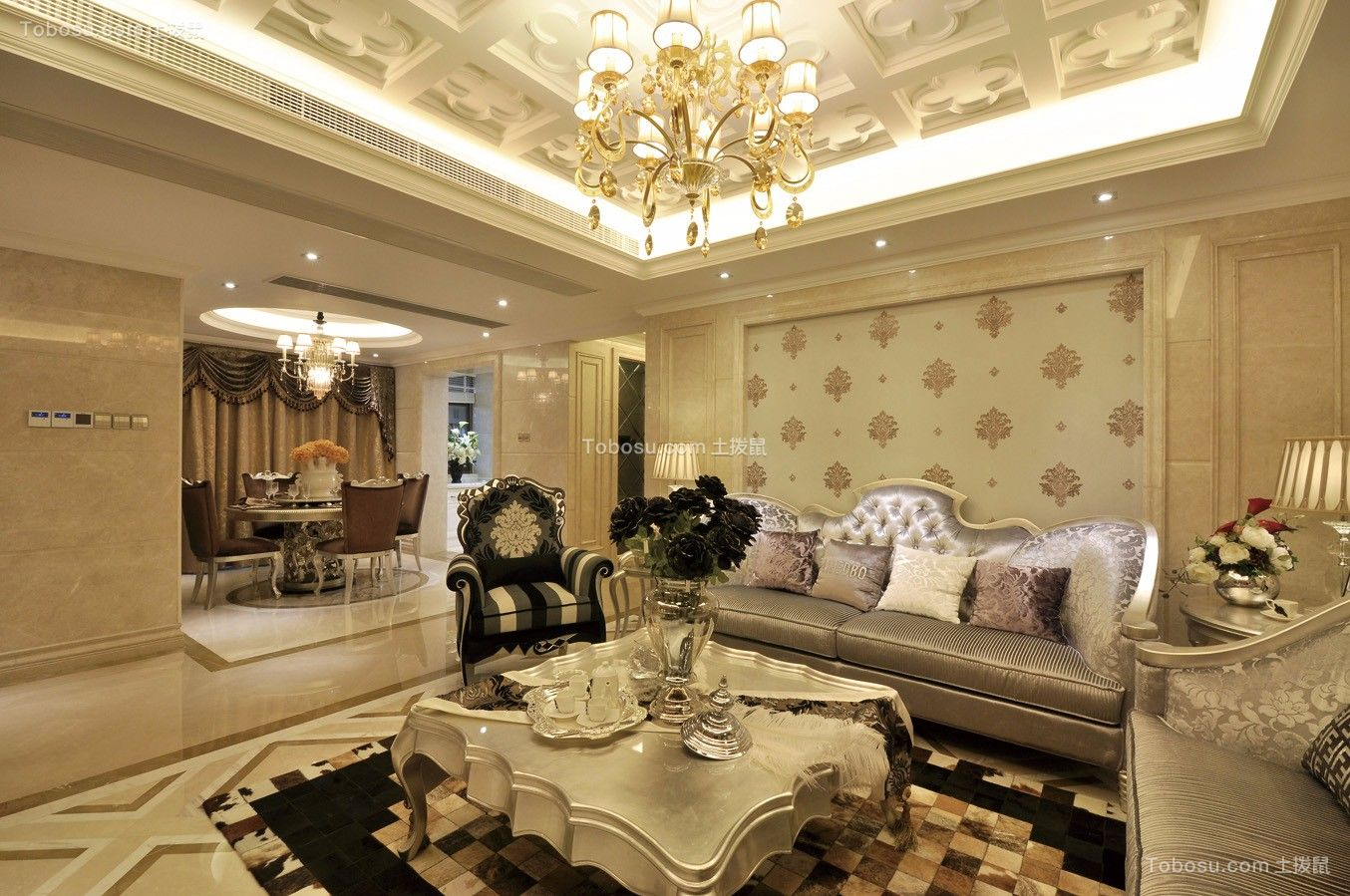 财信渝中城欧式风格112平三居室装修效果图