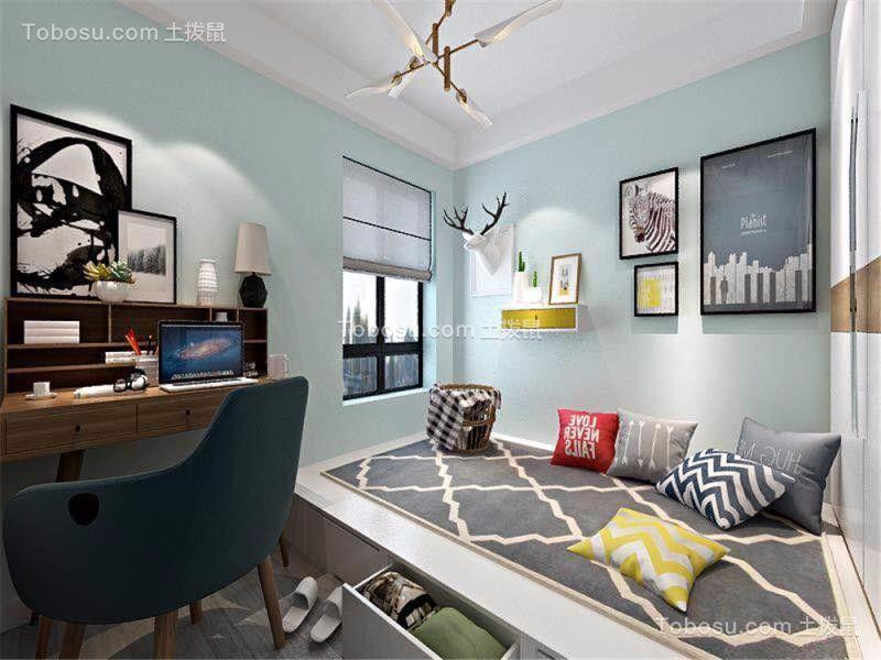 卧室蓝色背景墙简约风格装修效果图