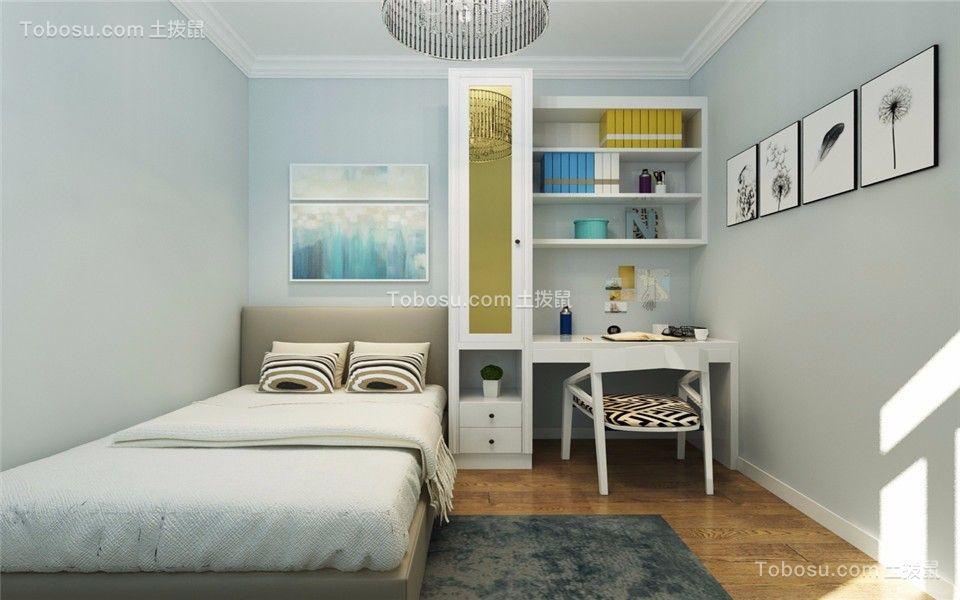 儿童房蓝色书桌现代简约风格效果图