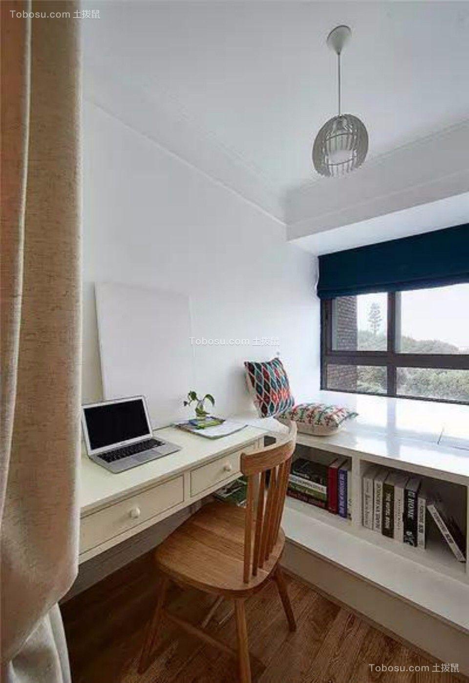 书房白色书桌日式风格装修设计图片