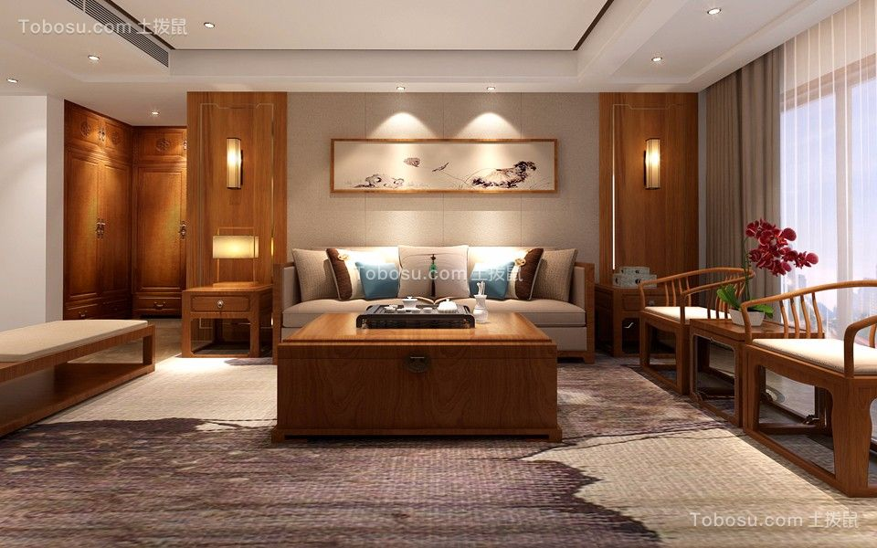 正阳路120平三居室新中式风格装修效果图