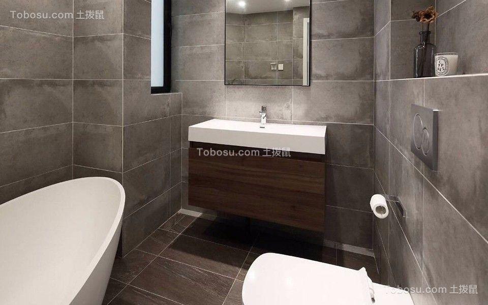卫生间灰色洗漱台现代简约风格装潢效果图