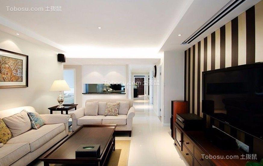 华宇锦绣花城现代风格102平三居室装修效果图