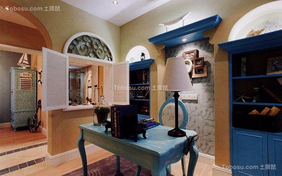 书房蓝色书桌欧式风格装修效果图