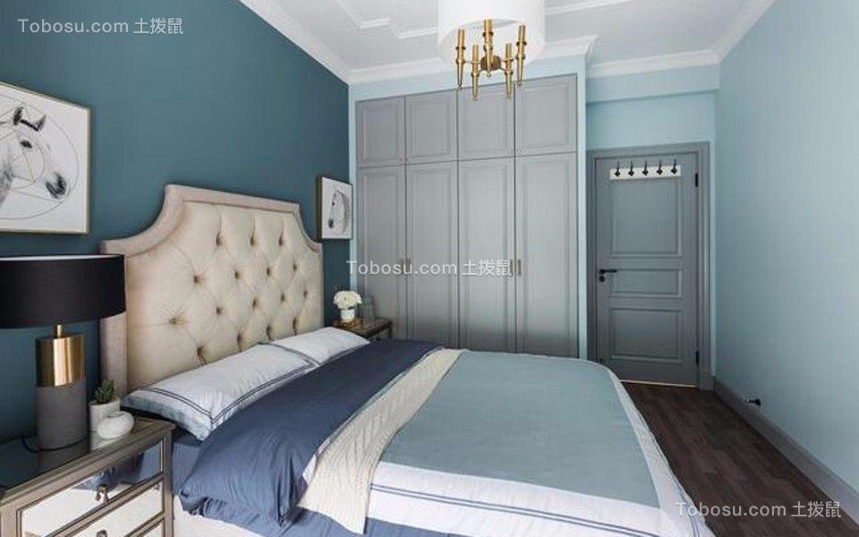卧室蓝色床美式风格装潢设计图片