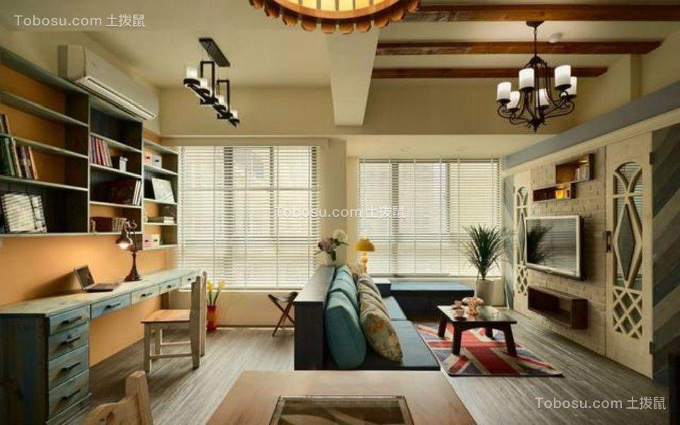 客厅咖啡色吊顶田园风格装潢设计图片