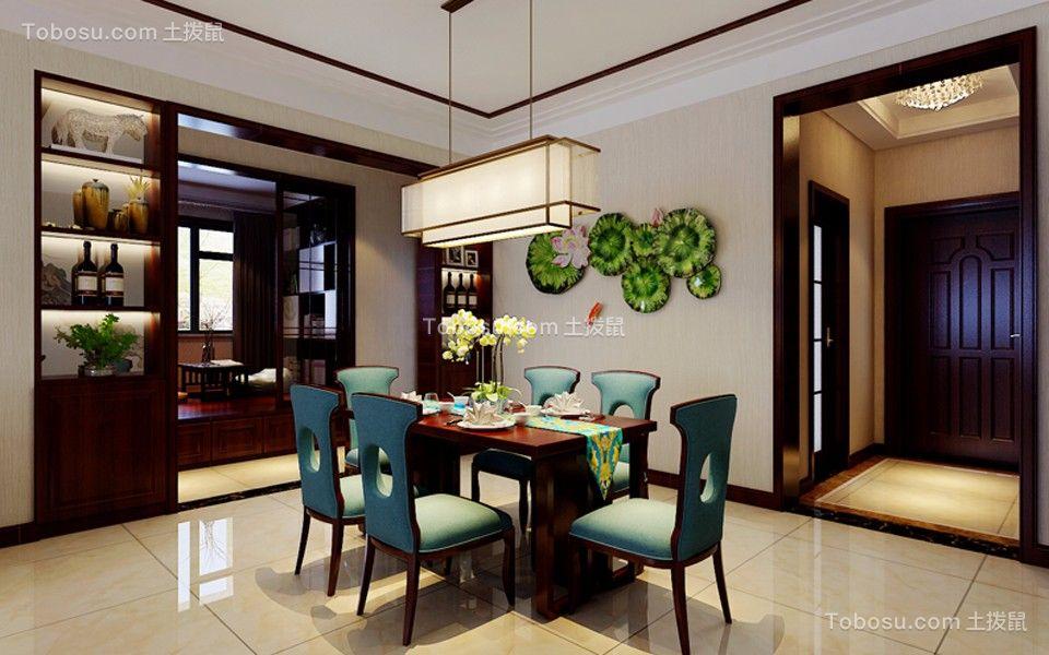 餐厅黄色地砖新中式风格装潢设计图片