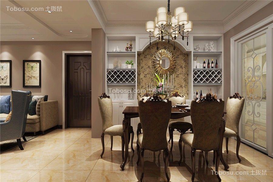 餐厅白色地砖美式风格装修设计图片