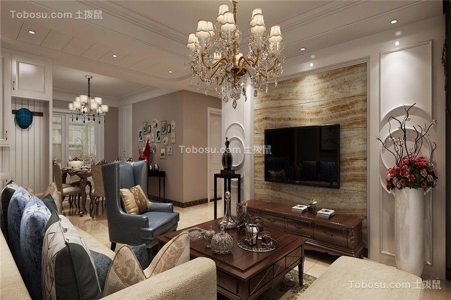 客厅蓝色沙发美式风格装饰设计图片