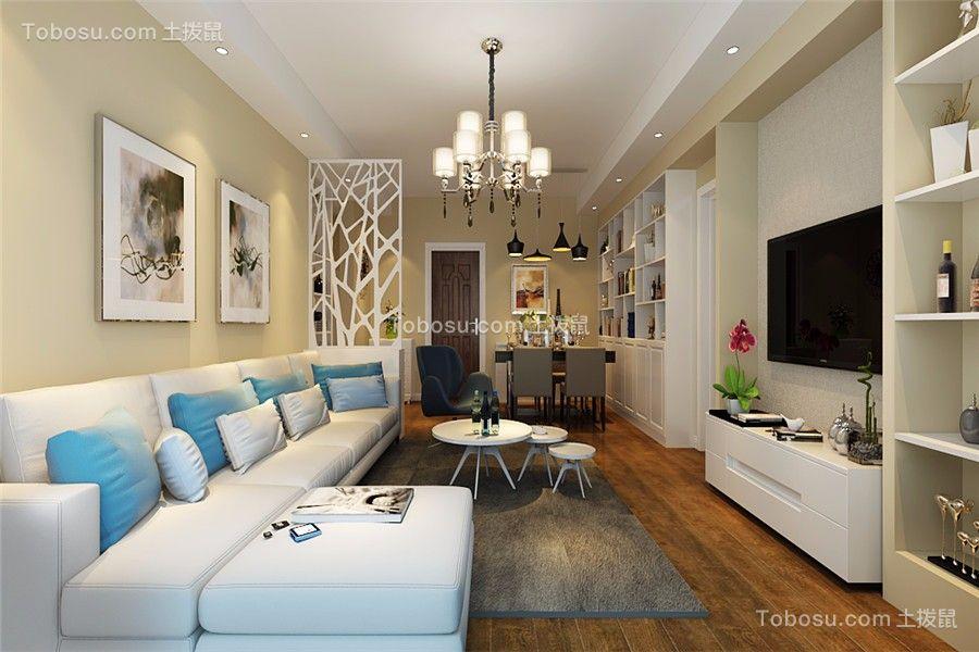滨湖顺园89平现代风格三居室装修效果图