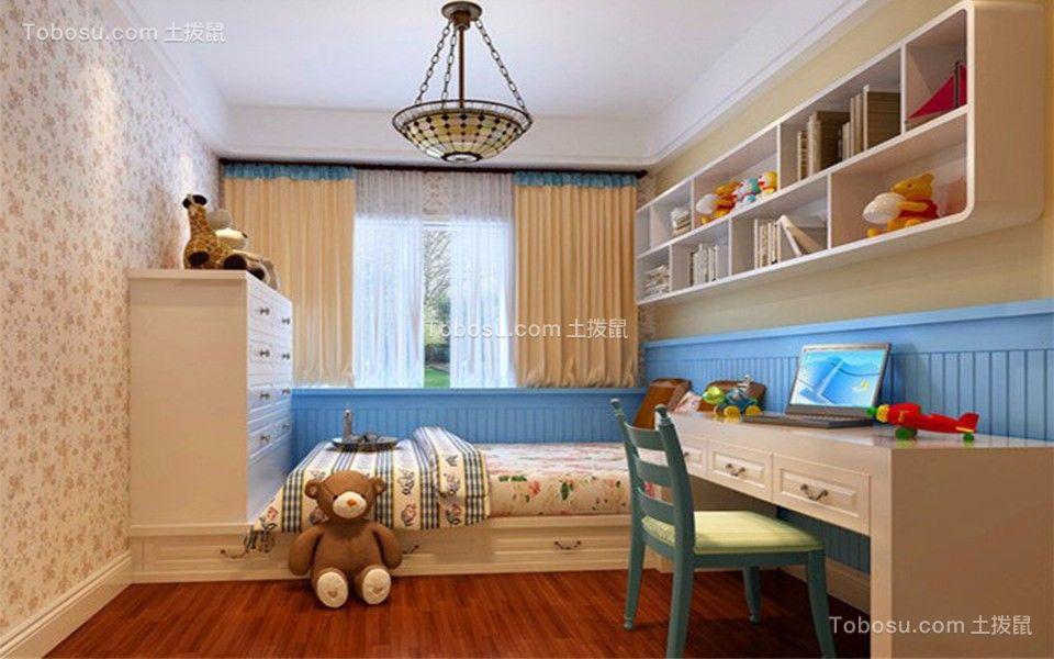 儿童房白色榻榻米地中海风格装饰图片
