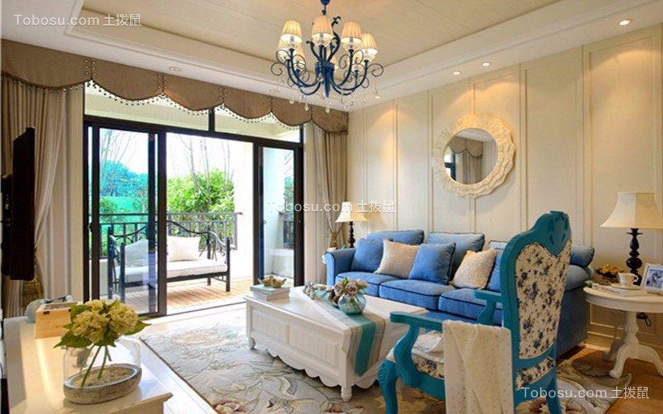 客厅蓝色沙发地中海风格装潢图片