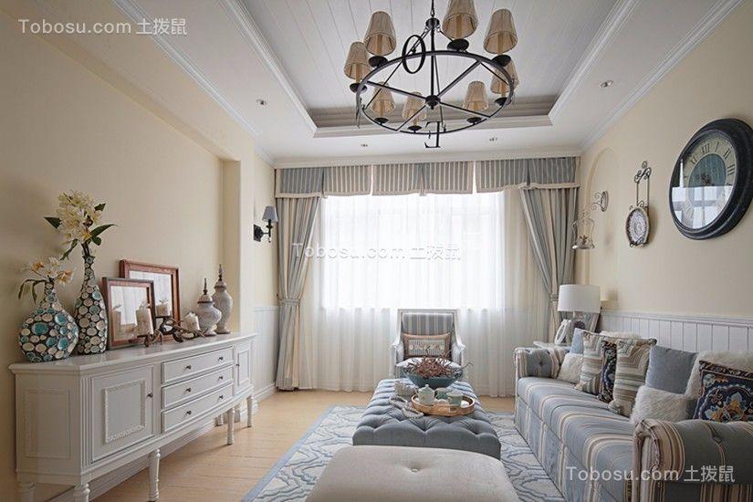 客厅蓝色沙发地中海风格装潢设计图片