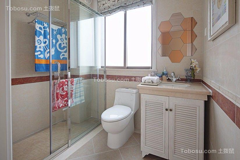 卫生间白色地砖地中海风格效果图