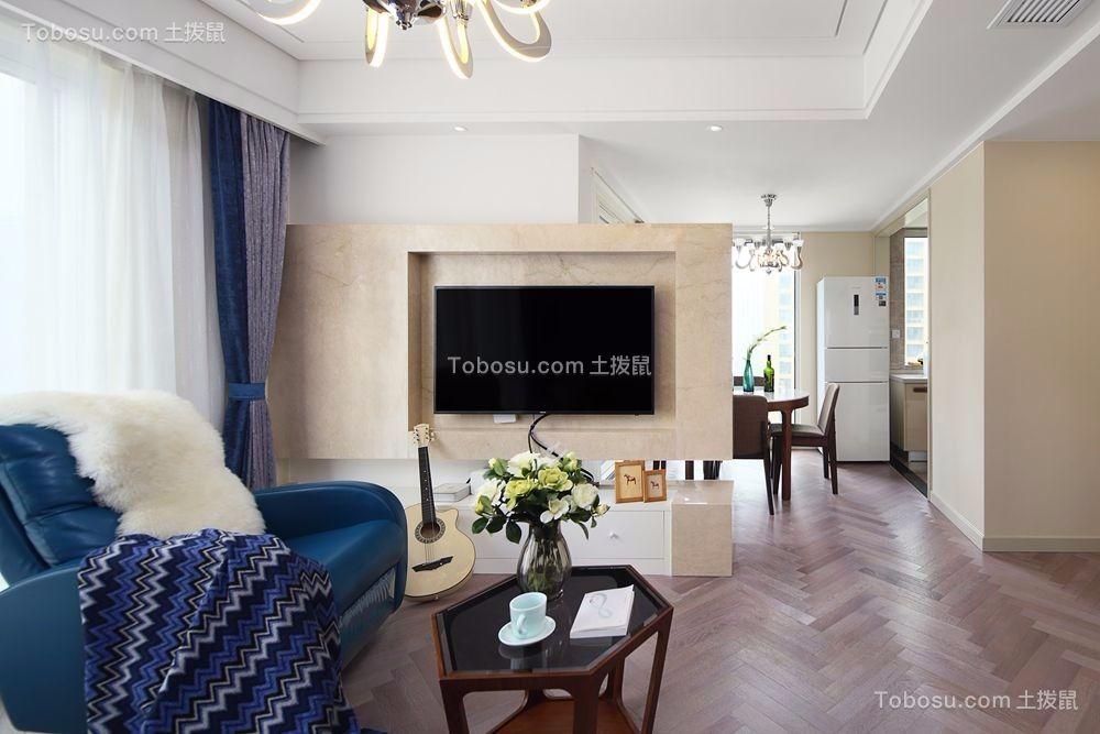 客厅米色背景墙现代简约风格装潢设计图片