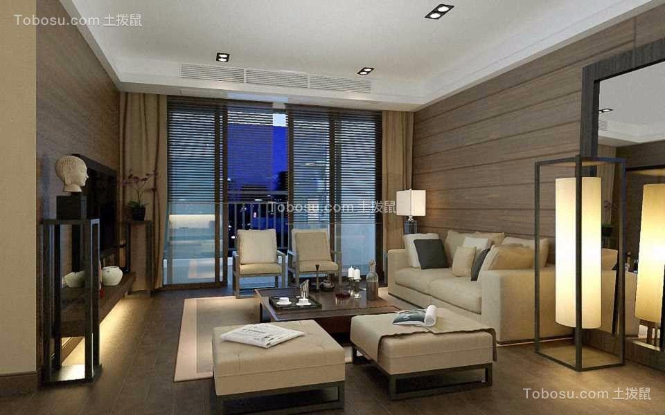 138平方现代中式三房两厅效果图