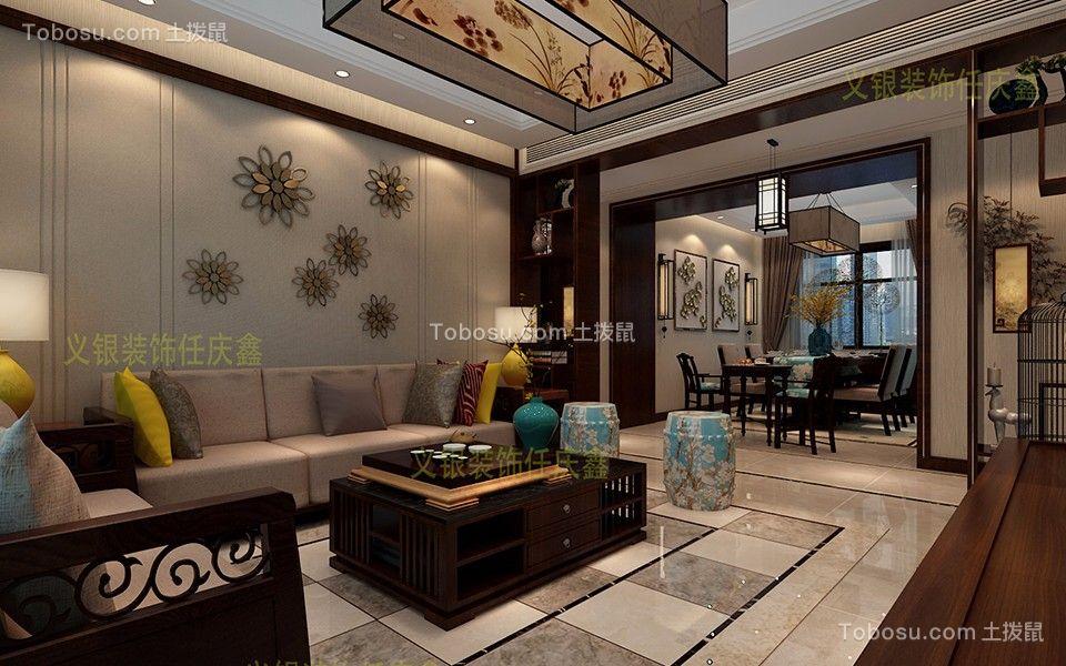合肥万达文化旅游城124平米三室二厅新中式风格装修效果