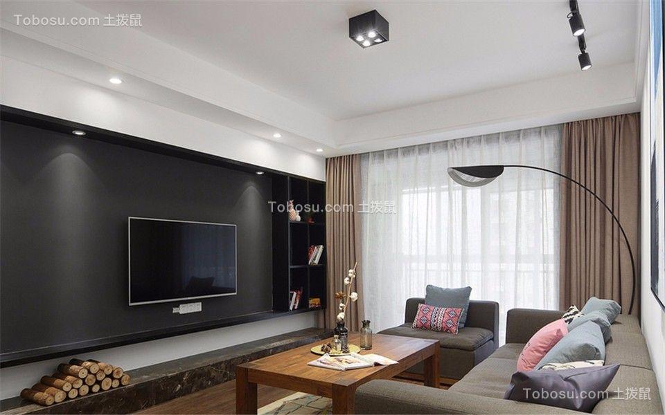 蓝山国际公寓120平现代风格三室两厅一卫装修效果图