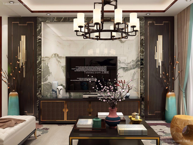 客厅黑色电视柜中式风格装潢设计图片