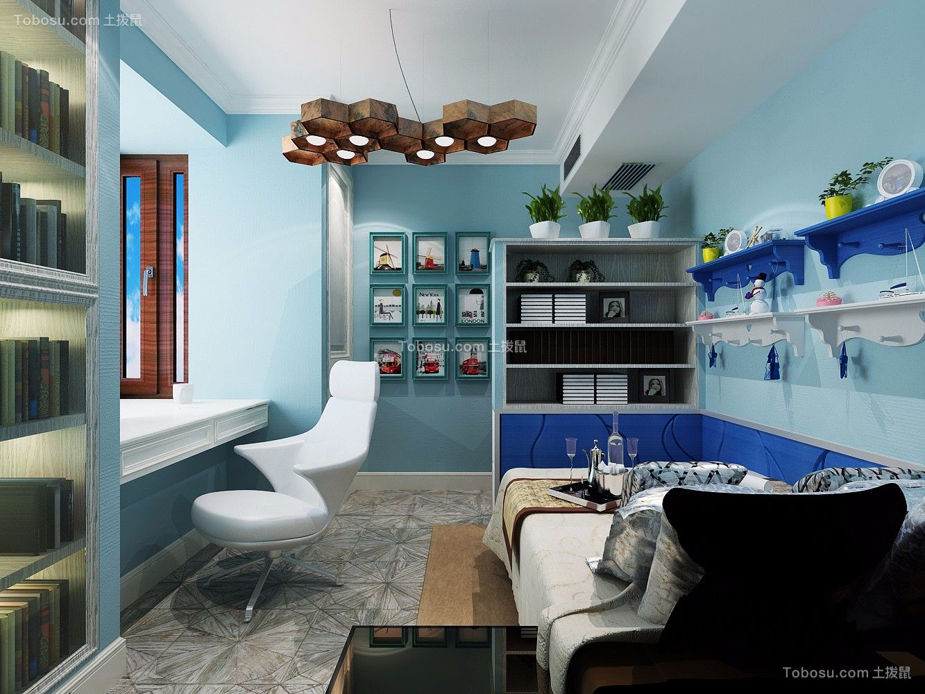 卧室蓝色床中式风格装潢图片