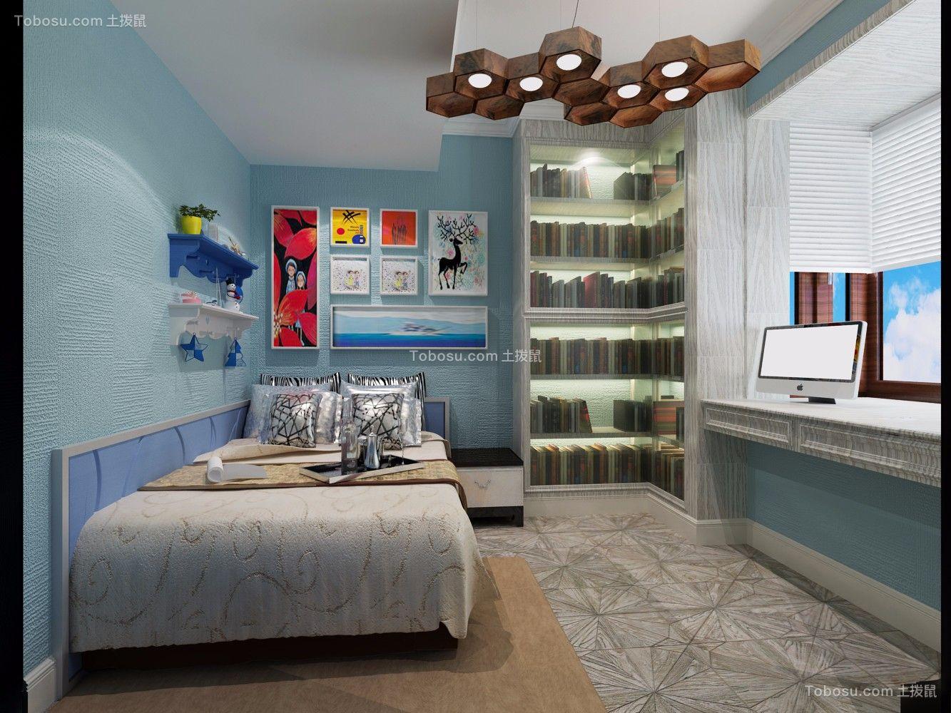 卧室蓝色照片墙中式风格装修设计图片