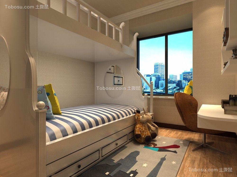 儿童房白色床中式风格装饰图片