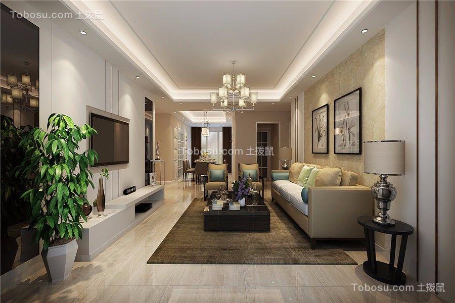 绿地新都会102平现代风格三居室装修效果图