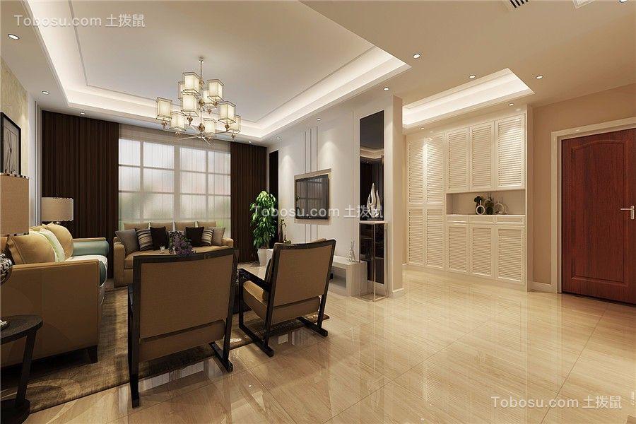 客厅白色地砖现代风格装修设计图片