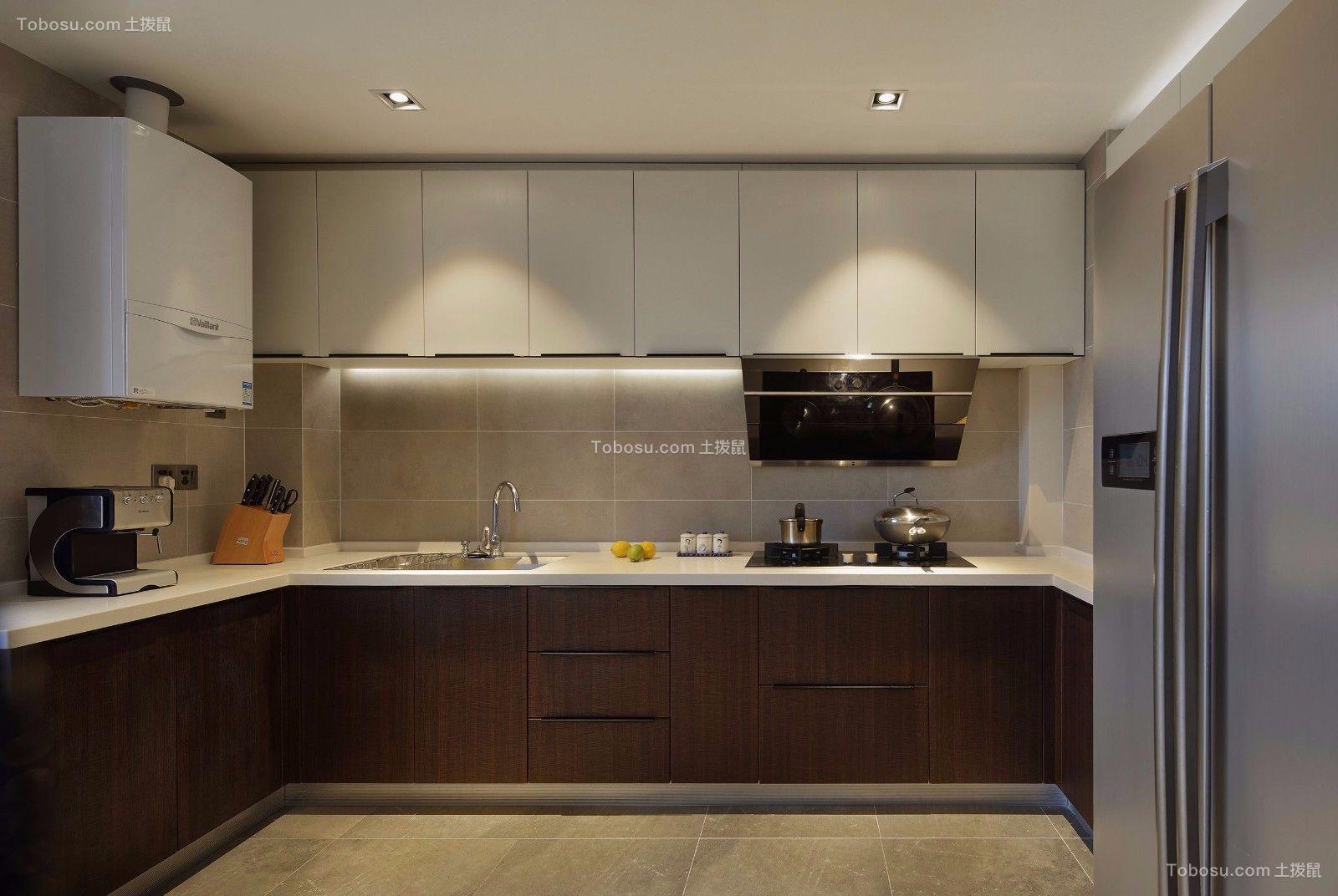 厨房咖啡色橱柜新中式风格装饰图片
