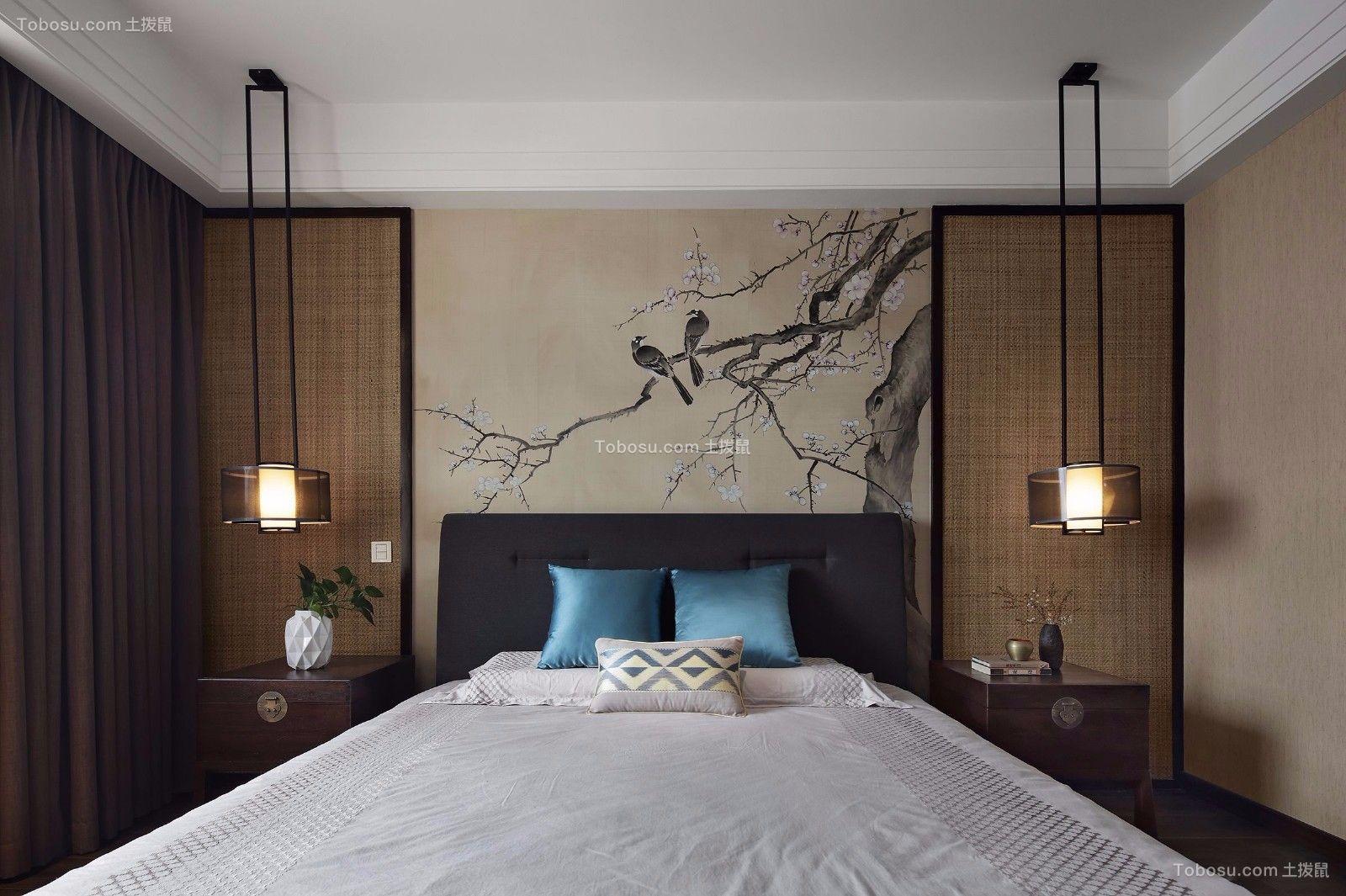 卧室咖啡色窗帘新中式风格装潢图片