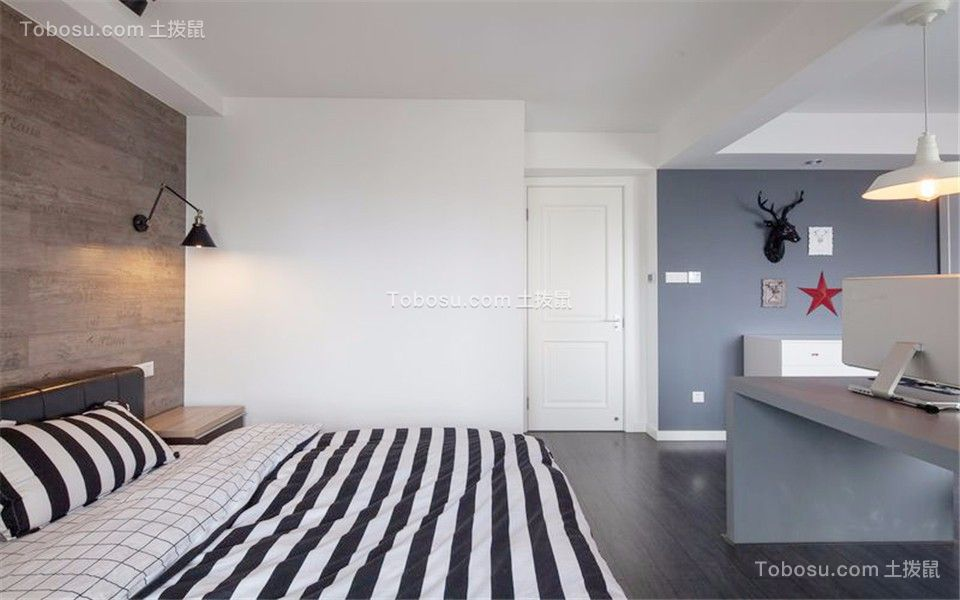 卧室灰色背景墙现代风格装饰设计图片