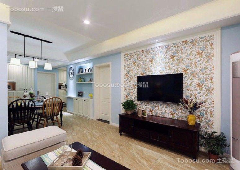 客厅米色地板砖美式风格装饰效果图