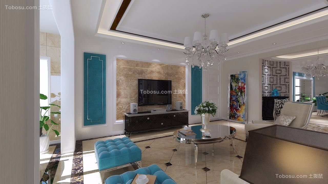 客厅米色地砖简欧风格效果图