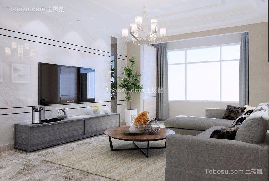 现代简约风格128平米三室两厅新房装修效果图