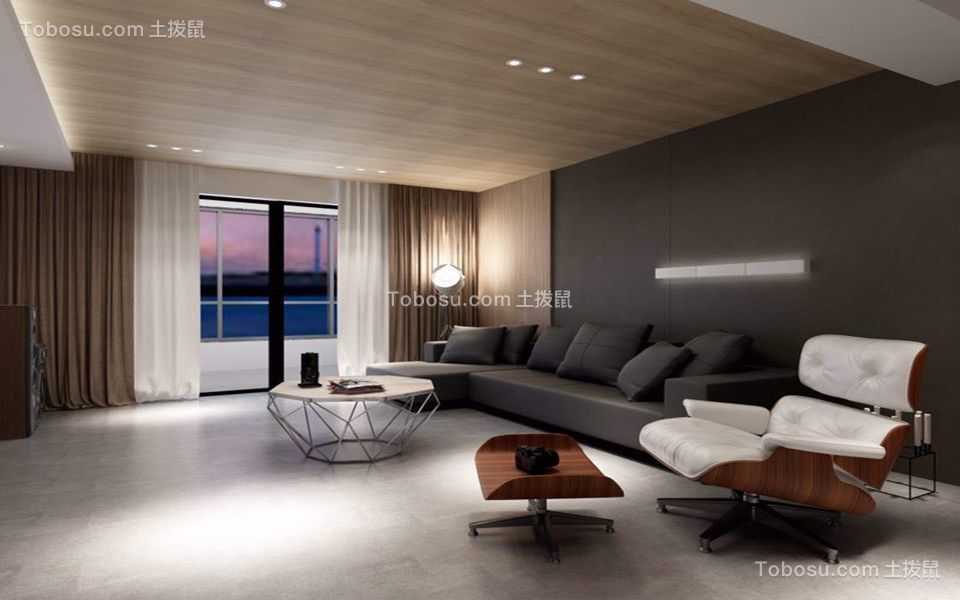 186平方港式现代风格三居室装修效果图